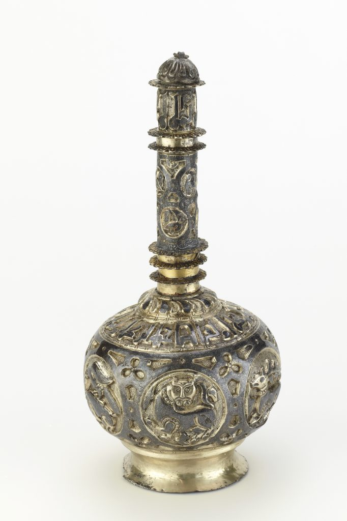 Silver rose water bottle; Iran, Buyid period (932–1062); silver gilt; Purchase; F1950.5