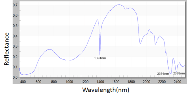 Example of a Vis-NIR spectrum of a Liangzhu jade bead (F1912.29a) composed of nephrite. The fingerprint bands for nephrite include 1394 nm, 2316 nm, and 2388 nm.