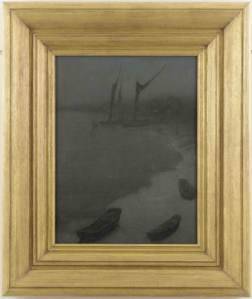 Nocturne: Grey and Silver—Chelsea Embankment, Winter; James McNeill Whistler (1834–1903); United States, ca. 1879; oil on canvas; Gift of Charles Lang Freer, F1902.143a–b