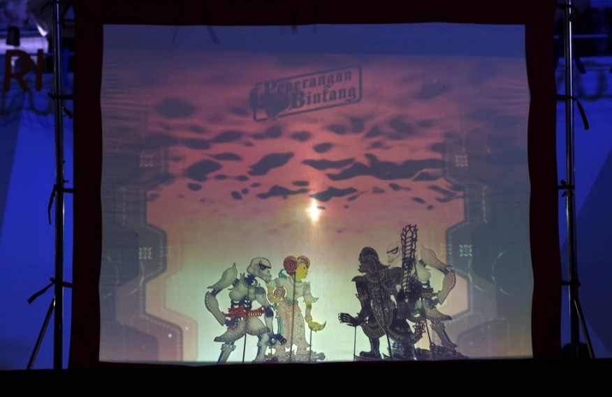 Traditional Malaysian shadow puppetry, known as wayang kulit, with scenes from Star Wars. Photo: AFP