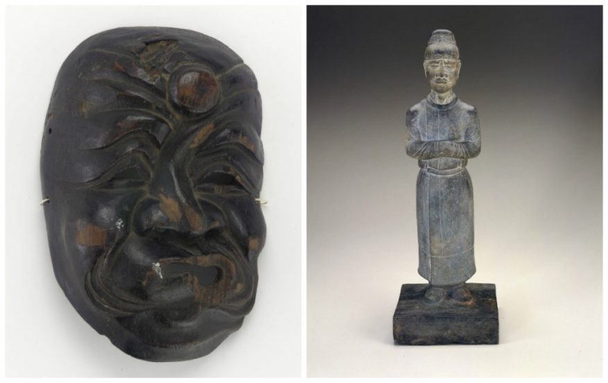 A Japanese mask and a Chinese figure of a mourning attendance face off in round one of March Sadness.