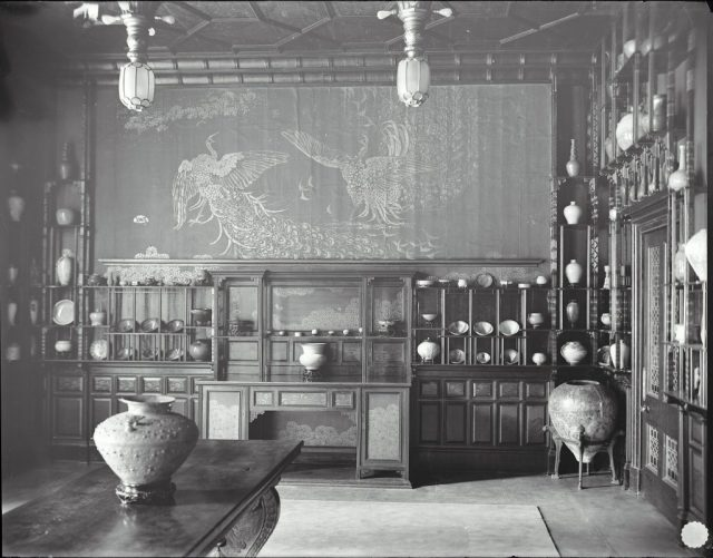 Archival black and white image of the Peacock room - follow the link to the full image in the SI archives
