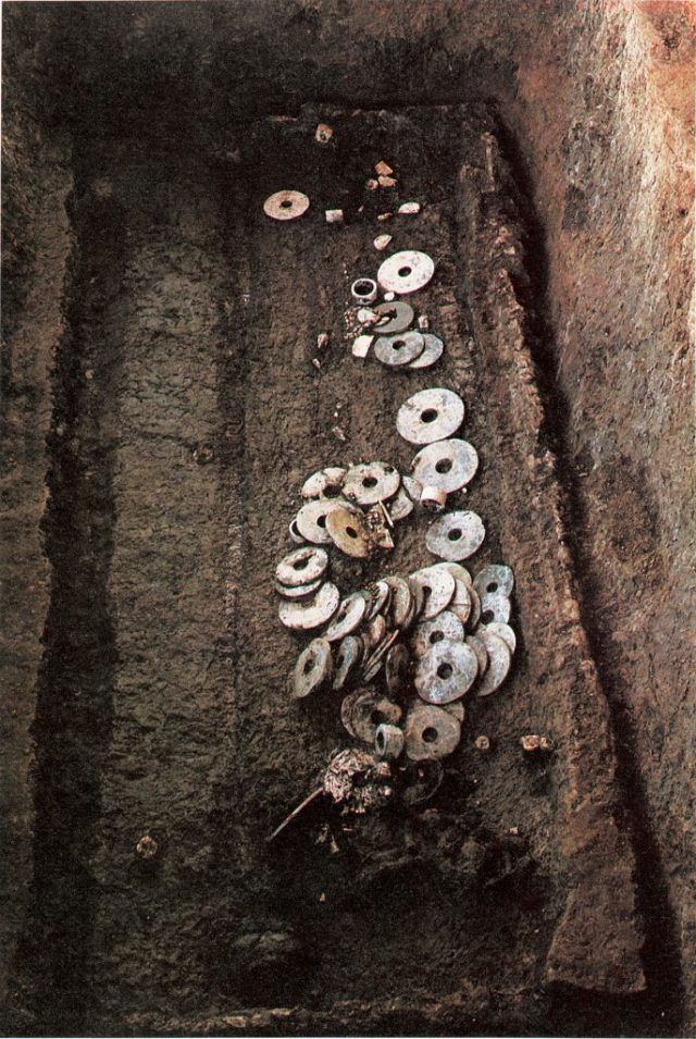 More than two hundred objects were discovered in this Liangzhu tomb, including the jade disks known as bi.
