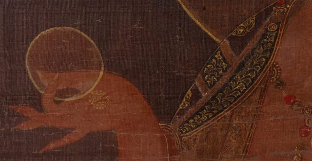 Detail, Bodhisattva Kshitigarbha (Jijang bosal); Korean, late 13th or early 14th century; hanging scroll, ink, color, and gold on silk; anonymous gift, S1992.11