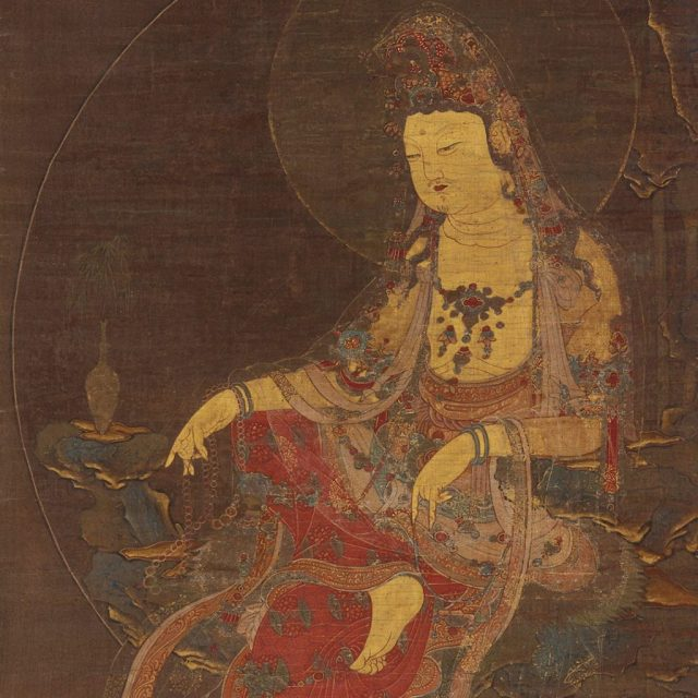 Detail, Water-Moon Avalokitesvara (Suwol Gwaneum bosal); Korea, mid-14th century; hanging scroll; ink, color, and gold on silk; Gift of Charles Lang Freer, F1904.13