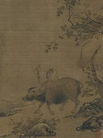 Ink painting on silk of a monkey on the back of an ox.