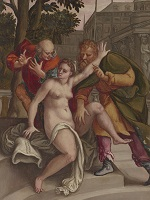 Detail of western painting depicting a female figure pushing away two male figures.