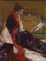 Detail of Whistler painting of woman in kimono looking at a leaflet.