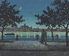 Woodblock print: Behind silhouetted trees, smooth water reflects a crescent moon sky and a glowing city across the water.