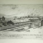 Black and white etching of warehouses. Signed Wall 1941. Text on image: The Winans Locomotive Shops, at Baltimore, where Whistler was to work as a draughtsman. Collection of Enoch Pratt Library. Baltimore.