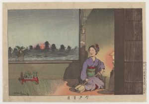 Print of a geisha tuning a shamisen in the warm light of a lamp, with a view of the Sumida river visable through the window over her shoulder.