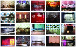 Grid collage of twenty pictures of colorful walls and faucets