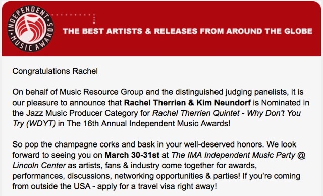 """Rachel Therrien & Kim Neundorf nominated in the Jazz Music Producer Category, IMA 2018"