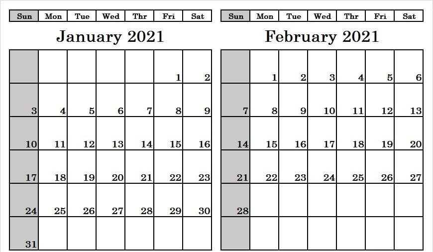 January February 2021 Calendar Printable Blank Template