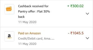 Amazon Pantry Cashback Proof