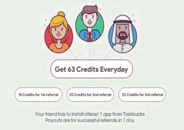 Get 63 Credits Every day from Taskbucks App