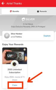 Zee5 Premium membership From Airtel Thanks App 02