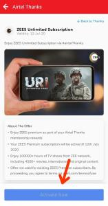 Zee5 Premium membership From Airtel Thanks App 03