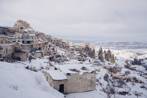 A small town covered under the snow
