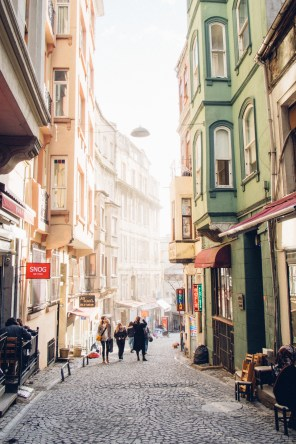 Street going up to Taksim Square from Galata