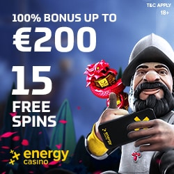 Energy Casino | 70 free spins & 150% up to €400 free bonus | Review