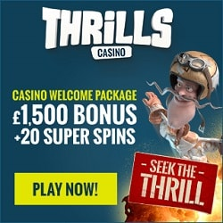 Thrills Casino | 400% bonus up to €1500 and 20 free spins | review