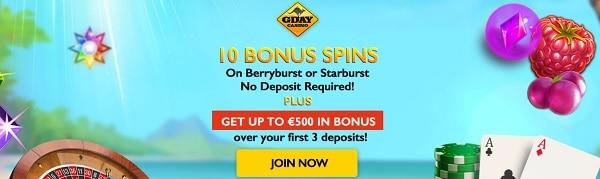 Gday Casino 10 free spins no deposit bonus exclusive offer