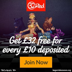 32Red Casino | 160% bonus up to £320 - 1000 freeplay games | Review