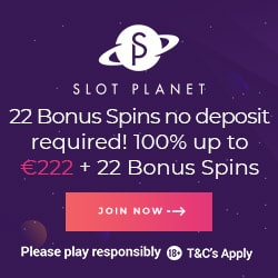 Slot Planet 22 free spins no deposit bonus