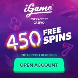 iGame Casino   450 free spins no deposit + €1,000 free bonus   Review