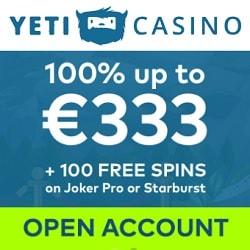 Yeti Casino | 100 free spins + 100% free bonus up to €333 | Review