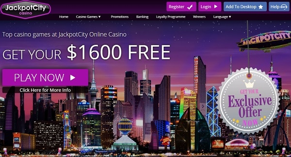 JackpotCity $1600 welcome bonus