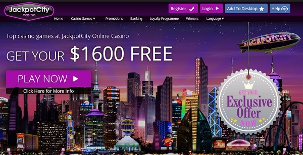 JackpotCity Casino $1600 welcome bonus and 50 free spins no deposit required