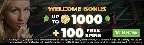 Get 100% up to €1,000 and 100 free spins bonus