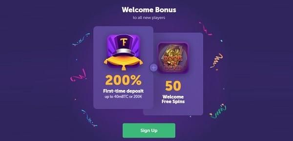 200% welcome bonus and 50 free spins at TrueFlip.io