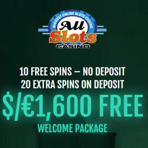 All Slots Online Casino: 30 free spins no deposit + €1600 exclusive bonus