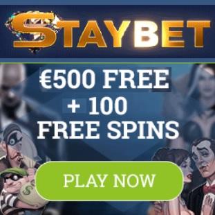 Staybet Casino Review | 100 free spins plus €500 gratis bonus