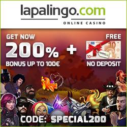 Lapalingo.com - 20 casino free spins & 200% welcome bonus