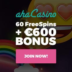 Aha Casino 100 gratis spins och €/£/$300 välkomstbonus
