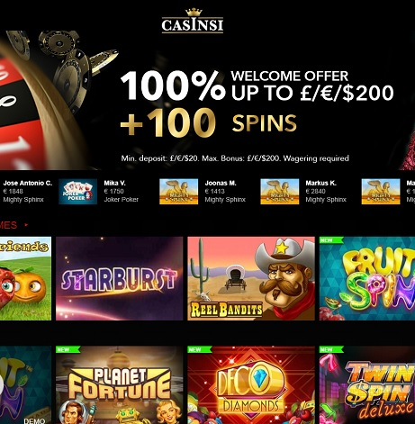 Casinsi Online Casino 100 free spins welcome bonus