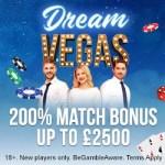 Dream Vegas Casino €7000 high roller bonus + 120 free bonus spins