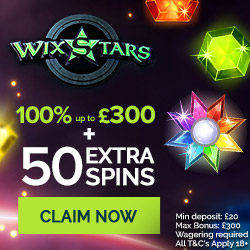 Wixstars Casino 50 free spins and €300 bonus on first deposit