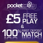 PocketWin Casino [register & login] £5 free bonus on UK mobile games