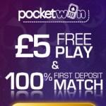 PocketWin Casino [register & login] £5 free bonus on UK mobile games
