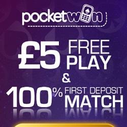 PocketWin Casino [register & login] £5 free bonus for UK mobile players