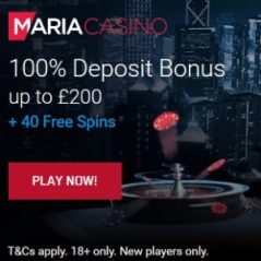 Maria Casino - 100% bonus and 40 free spins - new slots and live dealer