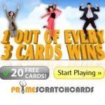 PRIME SCRATCH CARDS | 120 free spins   100% bonus   £200 gratis