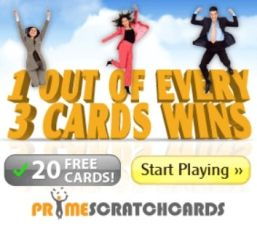 PRIME SCRATCH CARDS | 120 free spins + 100% bonus + £200 gratis