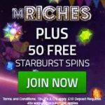 MRICHES | 50 free spins and £500 casino bonus | free play slots!