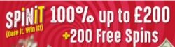 Spinit Casino 200 exclusive free spins and 200% up to €1,000 free cash bonus